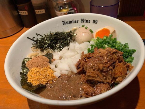 「油そば+味玉+刻み海苔」@麺Dining Number Nine 09の写真