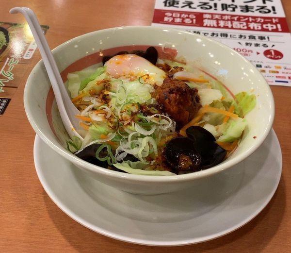 「台湾野菜まぜめん 辛シビ系」@幸楽苑 東寺山店の写真