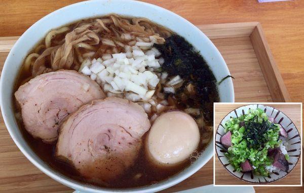 「限定 特にぼしそば & ネギ飯プレミアム」@自家製麺と定食 弦乃月の写真