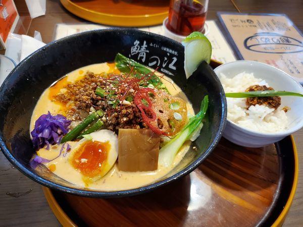 「冷やし担々麺とラー油つき追い飯」@ふくい自家製麺食堂。鯖の江の写真