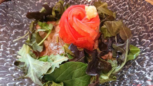 「1日10食限定 肉冷やし 1200円」@烈志笑魚油 麺香房 三くの写真