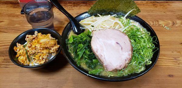 「太麺野菜3点盛り ランチミニ日替わり飯」@百麺 世田谷店の写真