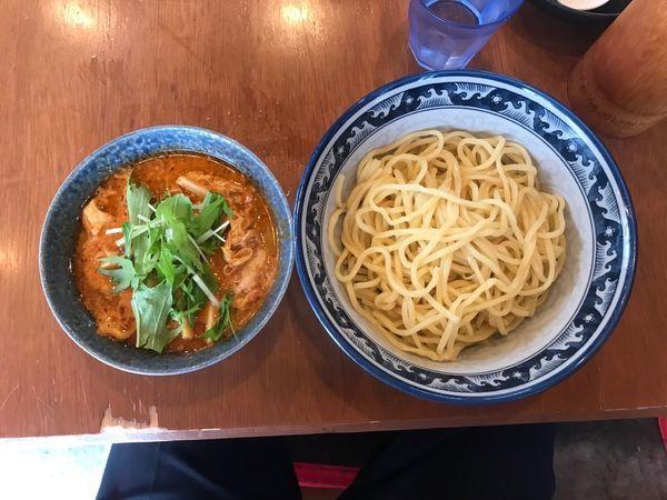 「海老辛つけ麺 メンマ 1,060円」@中華そば 中村屋の写真