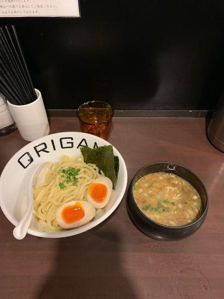 「濃厚ORIGAMIつけ麺+味玉(900円)」@麺屋 ORIGAMIの写真