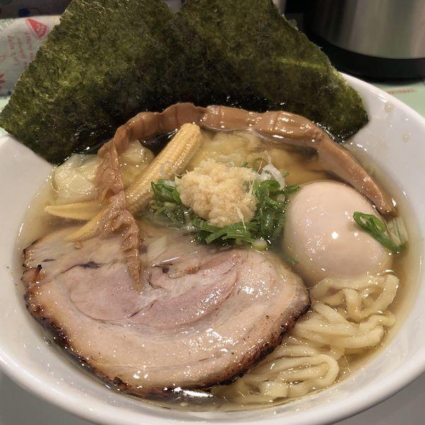 「85ラーメン+ワンタン+味玉(二黄卵)」@麺場80'sの写真