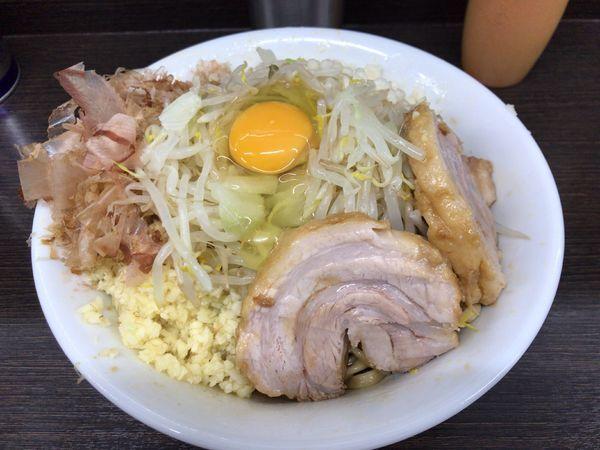 「小ラーメン+冷やし汁なし(ニンニク) 850円」@ラーメン二郎 川越店の写真