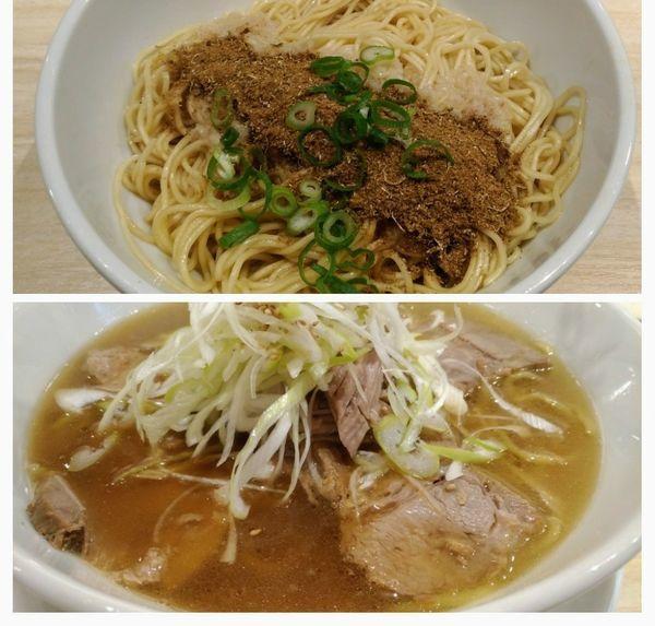 「肉麺+魚変玉(和え玉)」@麺や えいちつーの写真