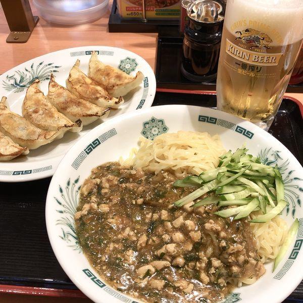 「ガパオ麺+餃子+生×2+ハイボール」@日高屋 土浦西口店の写真