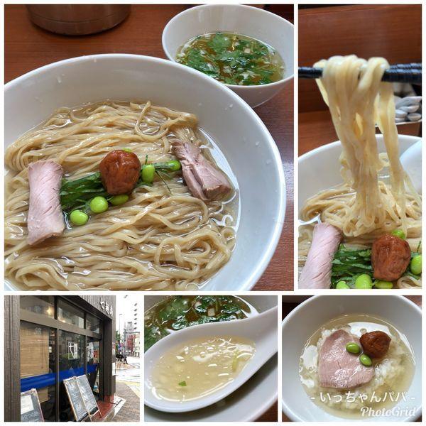 「限定)羅臼昆布水の冷たい塩つけ麺  〆飯付き 900円」@中華そば 七麺鳥の写真
