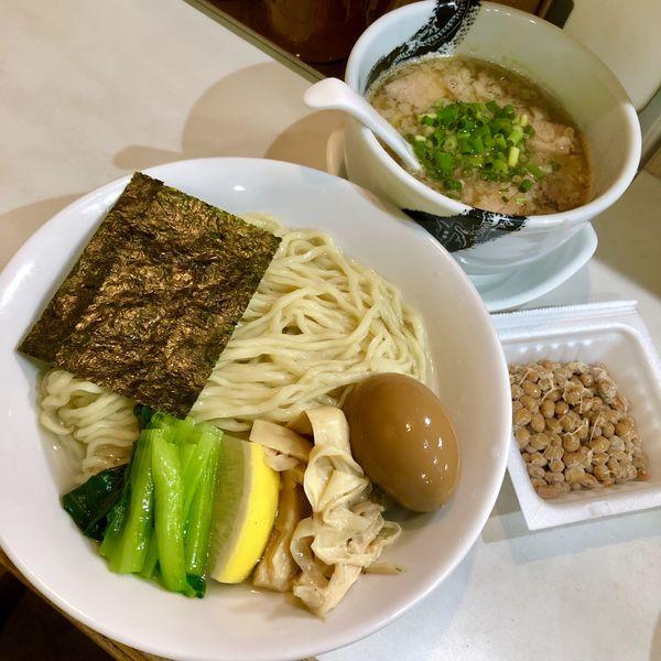 「【限定C】淡麗醤油つけ麺 (背脂Ver,)¥850+納豆」@麺屋 扇 SENの写真