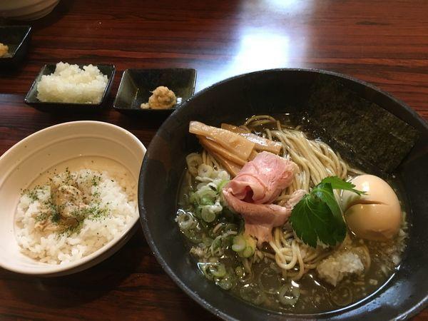 「剣先烏賊と鯵の冷製煮干しそば」@麺屋 ひな多の写真