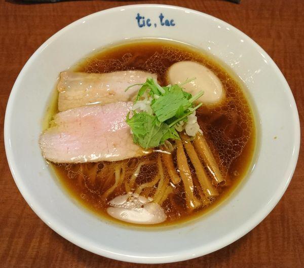 「らーめん(鶏)+玉子」@手打ら~めん tic,tacの写真