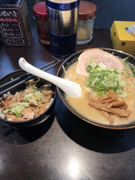 「味噌ラーメン+チャーシュー丼(ランチセット)」@旨みこってりらーめん鐵TETSUの写真