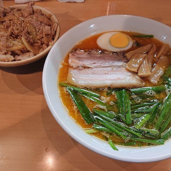 「ニラそば850円、生姜焼き丼350円」@魂麺の写真
