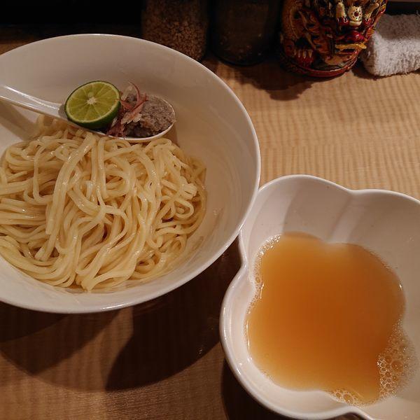 「限定 秋刀魚節仕立てのつけめん950円チャーシューご飯250」@菜の写真