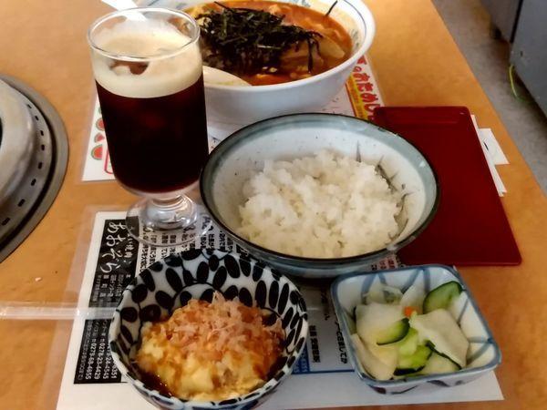「カルビラーメン定食(並盛・辛さ無指定)994円」@あおぞら 渋川バイパス店の写真