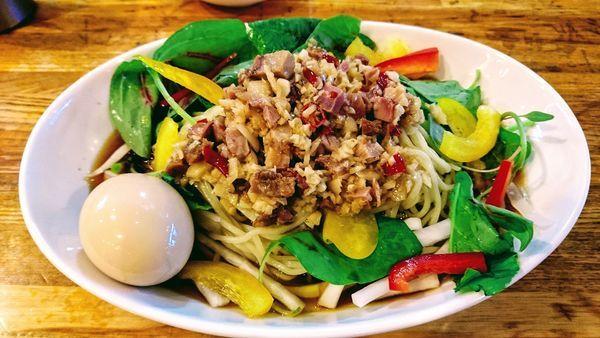「【限定】冷やしペペロンチーノ+味玉(クーポン)」@麺屋 庄太 六浦本店の写真