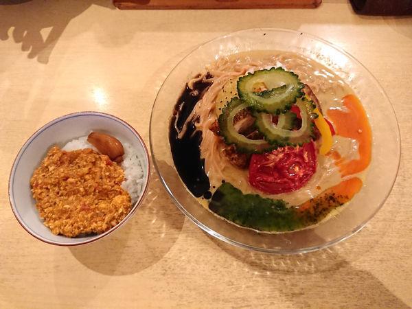 「冷やしカレーそば+キーマカレー飯」@饗 くろ㐂の写真