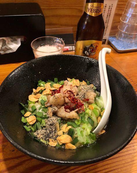 「9月限定・マルチョウと上州牛脂の和えそば¥1000・他」@らぁ麺屋 つなぎの写真