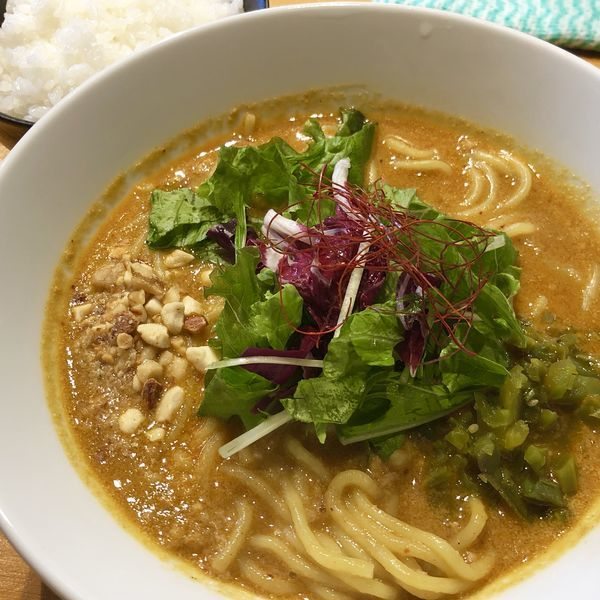 「カレー担々麺+ライス(中)」@担々麺atとなりのあじとの写真