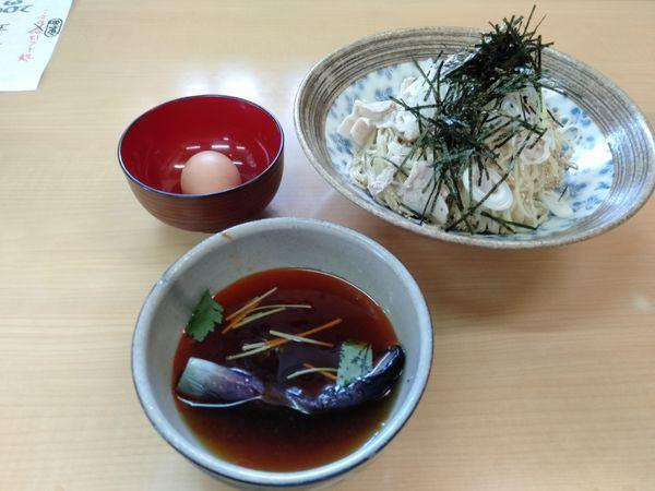 「ピリ辛、肉ネギ海苔どっさり茄子煮浸し入りツケ麺」@㐂九家の写真