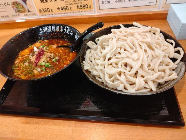 「濃厚無頼漢うどん(大盛・560g・辛さ3・山椒3)1000円」@上州濃厚激辛うどん 麺蔵の写真