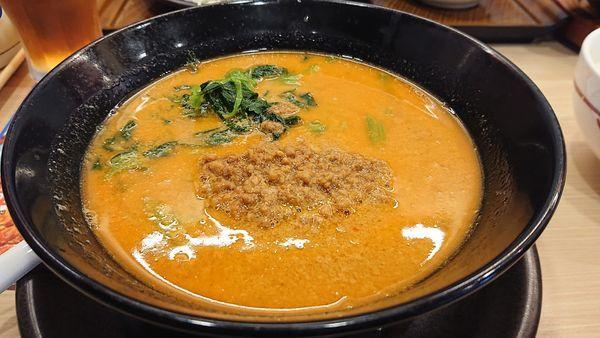 「ピリ辛肉味噌担担麺+ご飯セット(糖質控えめ・ほうれん草麺)」@ガスト 川越インター店の写真