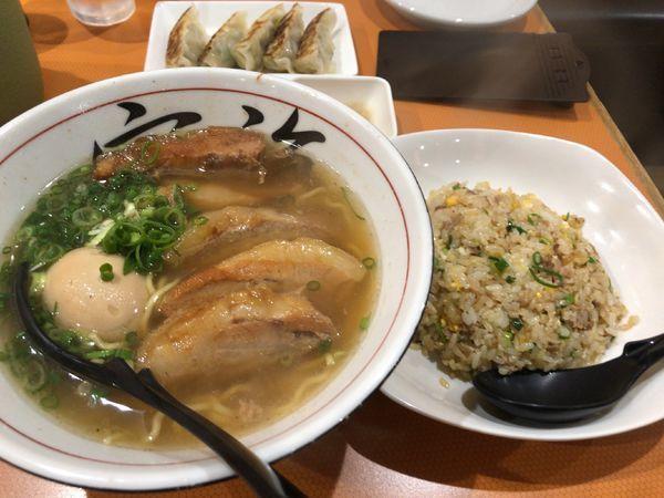 「空海チャーシュー(Bセット) + ひとくちギョーザ」@遊食 空海の写真