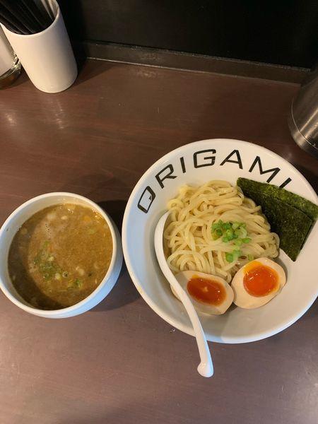「旨辛味玉ORIGAMIつけ麺(中盛・中辛)930円」@麺屋 ORIGAMIの写真
