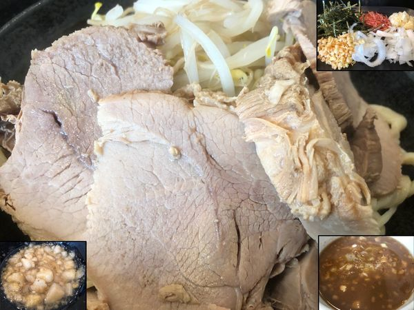 「極どろつけ麺(中)+豚マシ+無料トッピング」@つけ麺 どでんの写真