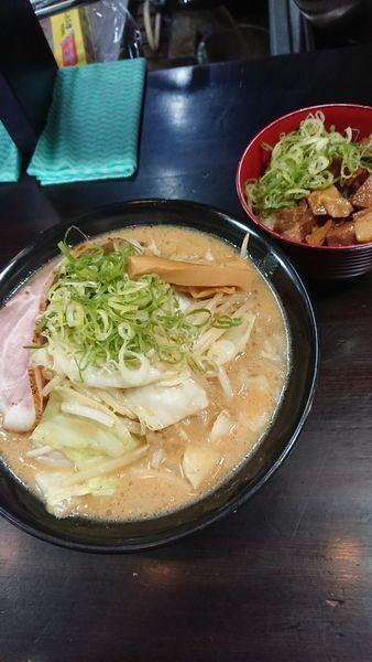 「ランチセット(味噌ラーメンと角切りチャーシュー丼)」@麺匠 茜ノ舞の写真