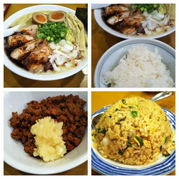 「【限定】濃厚辛味塩ラーメン+ライス+チャーハン」@麺屋 扇 SENの写真