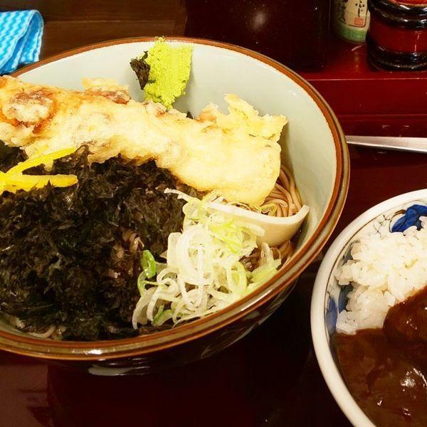 「サービス定食(岩のり+ちくわ天)」@船堀そば 文殊の写真