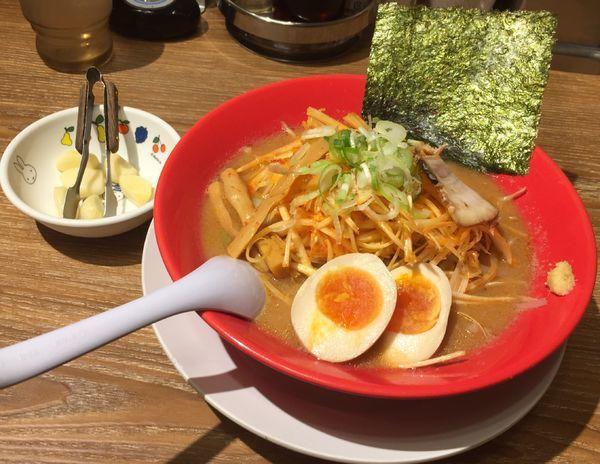 「辛ねぎ味噌+味付玉子」@旭川味噌ラーメン ばんから 武石IC店の写真