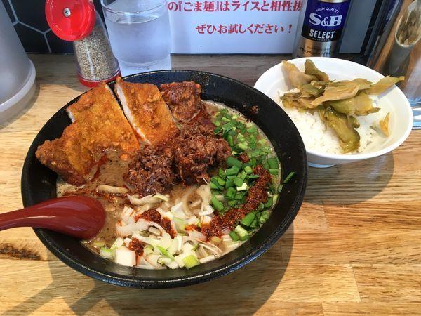 「パーコーごま麺+サービス半ライス」@ごま麺 鉢と棒の写真