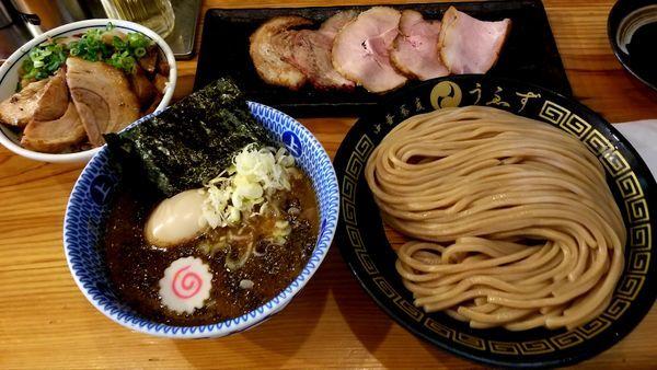 「特製つけ麺(並)1470円+チャーシューご飯330円」@中華蕎麦うゑずの写真