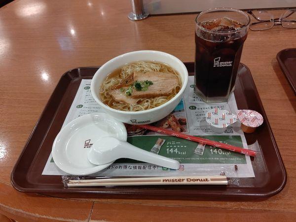 「厚切り肉そばセット(アイスコーヒー)656円」@ミスタードーナツ 高崎駅ビルショップの写真