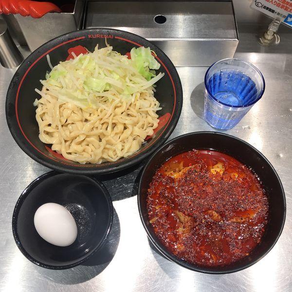 「鬼紅つけ麺+温泉たまご」@麺創研 紅の写真