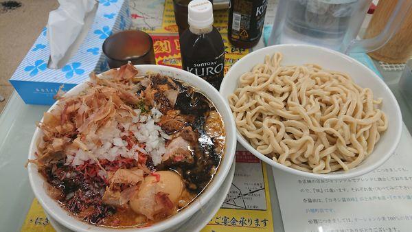 「濃厚ブラック海老味噌つけ麺950円+他」@ラーメン 富次郎 堀町店の写真