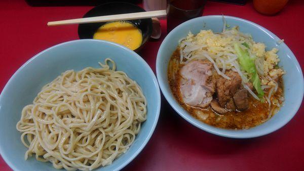 「つけ麺、豚増し、生卵」@ラーメン二郎 中山駅前店の写真