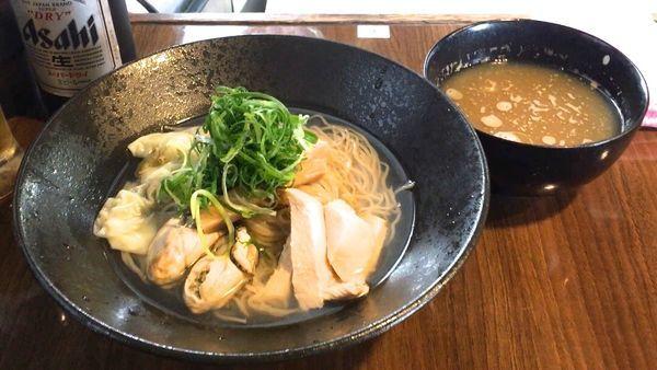 「アサヒスーパードライ → 牡蛎つけそば」@寿製麺よしかわ 保谷店の写真