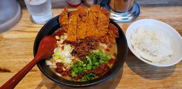 「ごま麺パーコー半ライス」@ごま麺 鉢と棒の写真