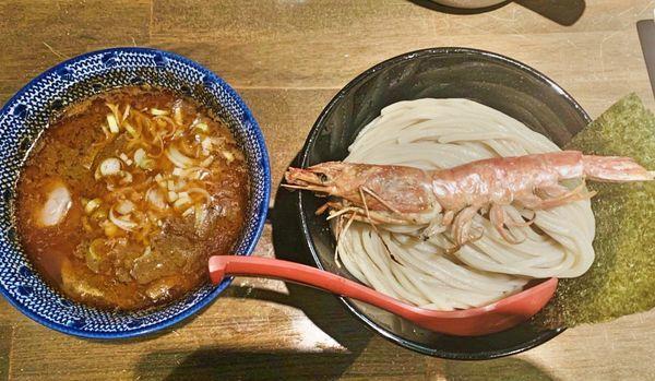 「濃厚海老つけ麺+トマトとチーズの雑炊 1000円」@麵屋 食べいろの写真
