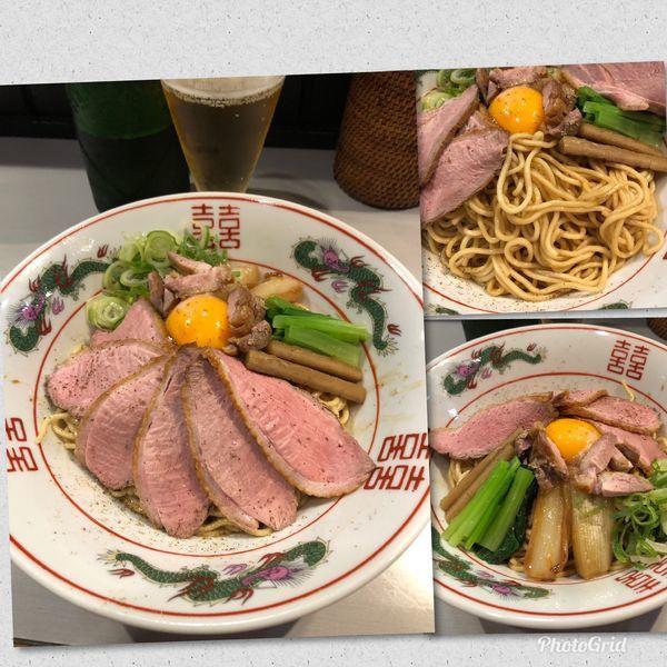 「鴨脂のあえそば¥850 &ビール中瓶¥500」@中華蕎麦 瑞山(ZUIZAN)の写真