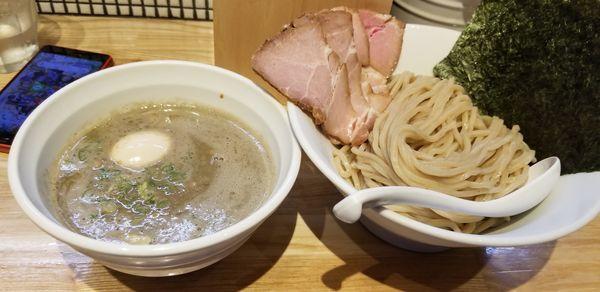 「全部入り煮干つけ麺1150+チャーシュー飯250」@らーめん 改の写真
