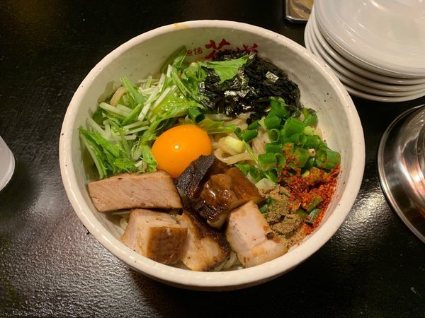 「まぜそば 並盛 850円(追い飯無料)」@麺場 花道 中村本店の写真