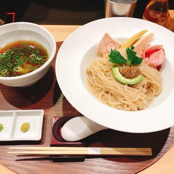 「鶏とボルチーニ茸の醤油つけSOBA」@銀座 篝 本店の写真