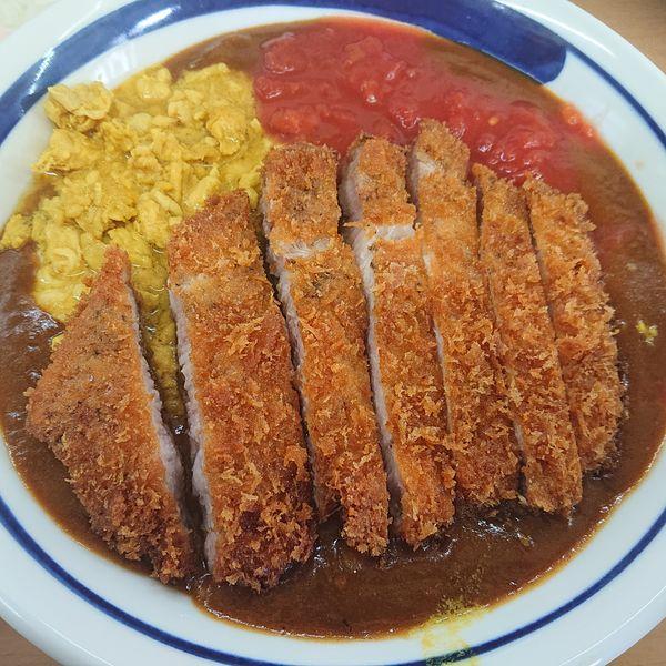 「キーマ風鶏カレー限定C紫峰豚カツ150g2000円、オニスラ温玉」@MENYA 食い味の道有楽の写真