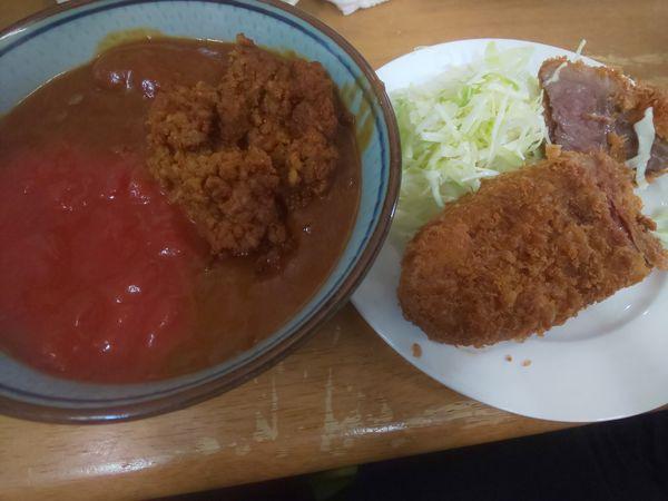 「キーマ風カレー Sビーフカツ+辛牛キーマ風移行」@MENYA 食い味の道有楽の写真