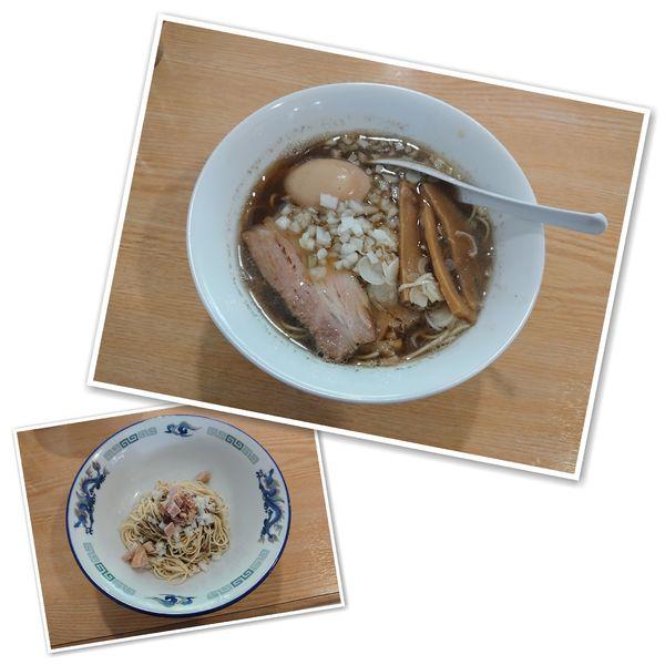 「かけそば肉入り+味玉+合え玉 1000円」@ツバメヤの写真